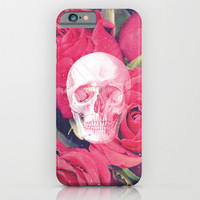 Vintage White Skull Grunge Pink Roses iPhone & iPod Case by Hyakume