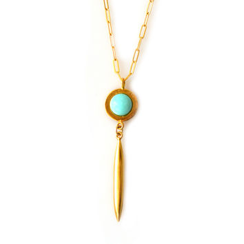 Dive in Deep Gold Turquoise Pendant