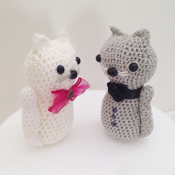 Crochet cats  amigurumi, Valentines Gift, Cats wedding couple, Crochet Cats Cake Topper, Animal Cake Topper