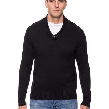 Cashmere Blend Shawl Collar Pullover Sweater - Black