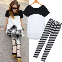 Black and White Short Sleeve Tunic Top and Striped Pencil Pants