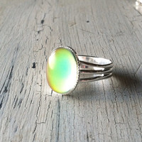Mood Ring - Silver Color Changing Mood ring - Adjustable Ring, Rainbow Colored Ring