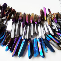 Mystic Titanium Quartz Rock Sparkling Crystal Spikes Drilled Briolettes 11 Pieces Beads