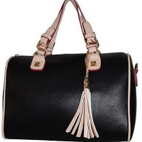 Classic Brown Satchel Handbag Tassels Purse
