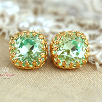 Gold Mint Studs, Mint green sea foam Crystal stud vintage earring - 14k Gold plated  Silver  post earrings real swarovski rhinestones .
