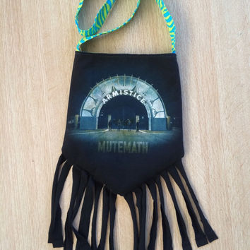 MUTEMATH - Upcycled Rock T-Shirt Fringe Purse - ooaK