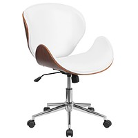 Mid-Back Wood Swivel Conference Chair in Leather