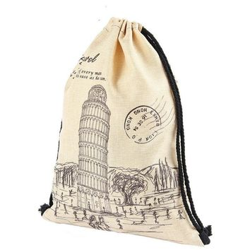 RomeLeaning Tower Of Pisa Drawstring Bags Cinch String Backpack Funny Funky Cute Novelty