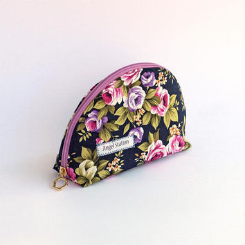 Cosmetics bags, Fabric blue rose pink, Handbag travel, Personal cosmetic bag, Makeup bag, Budget Accessories, Small organizer, Small bag