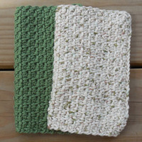 Crochet Dishcloth or Washcloth, Sage Green and Woods Variegated 100% Cotton Clothes, Eco-friendly