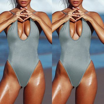 High Cut Plunging One Piece Swimwear