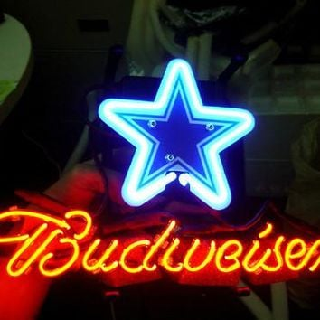 "Dallas Cowboys Budweiser Star 17"" x 14"" Neon/LED-Lighted Pub Sign"