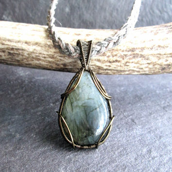 Labradorite Necklace, Wire Wrapped Bronze on Natural Braided Hemp Chain, Mystical Magical Necklace, Iridescent Crystal, Metaphysical Healing