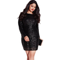 Black Sequined Plus Size Dress