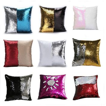 Unique Sunshine Pattern Mermaid Sequin Pillowcases Magical Color Changing Reversible Sequin Throw Pillow Cover Home Decor Cushio