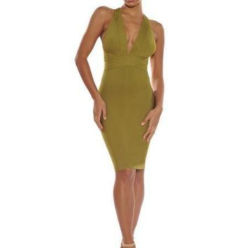 Halter V Neck Midi Bandage Dress