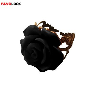 New Arrival Colorful Resin Rose Hollow Out Flower Ring Opening Resizable Gothic Finger Ring Vintage Jewelry for Women
