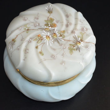 Wave Crest Dresser Box C.F. Monroe Attributed Porcelain Jewelry Casket Enameled Daisies