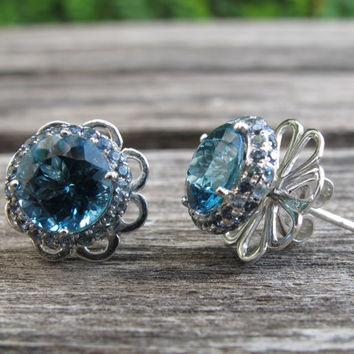 Sale London Blue Topaz Earrings with Blue Sapphire- Gorgeous Blue Topaz Earrings- Blue Sapphire Earrings