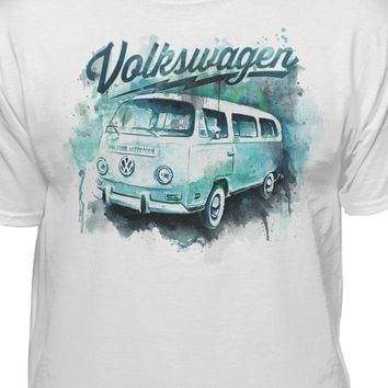 Volkswagen Watercolor Bus Fitted T-Shirt