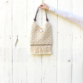 Hippie Purse Cream macramé fringe bag bohemian style upcycled recycled handbag altered accessories and clothing handmade by wearlovenow