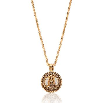 Men's Necklace with Gold Buddha Amulet