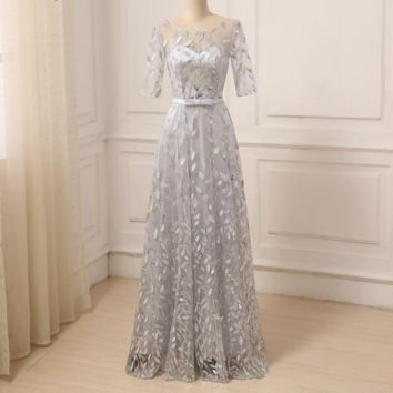 Silver Prom Dress Scoop Neck Three Quarter Sleeves Floor Length A-line Prom Party Gowns Long Evening Dresses