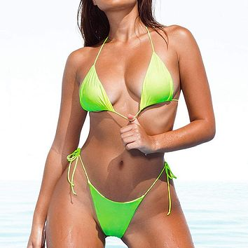 Halter Triangle Bathing Suit Women Biquinis Neon Sexy Swimwear Push Up Brazilian String Swimsuit Micro Top High Cut Bikini