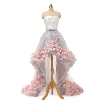 Wedding Dress Strapless Tulle With Flowers Wedding Dresses Beach High Low Wedding Dress