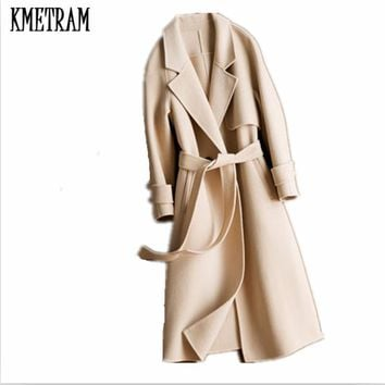 KMETRAM Autumn and winter Vouge Women's Wool Coat 100% Double Side Wool Overcoat Turn-Down Collar Slim Winter Coat Women HH473
