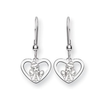 Disney's Cinderella Heart Dangle Earrings in Sterling Silver