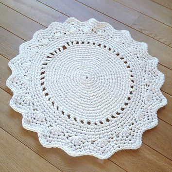 READY TO SHIP! Hand Knit Original /Crochet Rug ,Round Rug, Beige Rug, Handmade Rug, Doily Rug, Wool, Cotton Rug, Knitted Rug