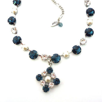 BLUE SATIN  Swarovski crystal necklace,  Royal blue, crystal and pearls, with optional pendant by Siggy Jewelry
