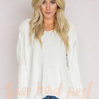 Snuggle Up Knitted Hoodie In White