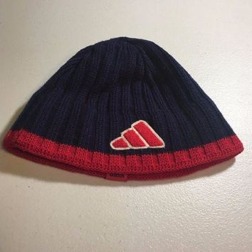 ESBONC. BRAND NEW ADIDAS NAVY AND RED TRIM KNIT HAT SHIPPING