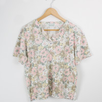 Vintage Floral Boxy Patterned T shirt