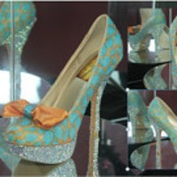 Turquoise and Orange, Giraffe Print Platform Pump