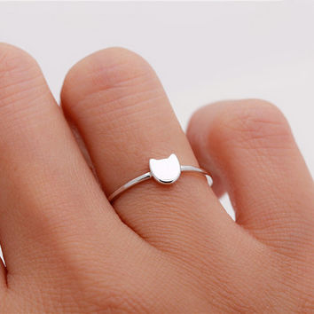 Tiny cat sterling silver / gold vermeil / rose gold plated ring - Delicate simple everyday jewelry