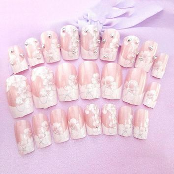 24Pcs/Set 3D Fake Nail Art Girls Fashion Shining Rhinestone Full Nails Tips  Flowers Printing Bride Wedding Nails Tips With Glue