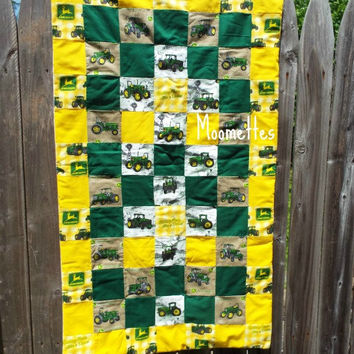 John Deere Baby Quilt Green Yellow Farm Tractor Nursery Decor Crib Cover Blanket Throw Handmade