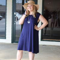 Out By The River Dress: Navy