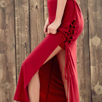 Red Lace High Slit Maxi Skirt