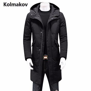 KOLMAKOV 2017 new winter high quality men's hooded down jacket parkas,solid color 90% white duck down coat windbreaker men,M-6XL