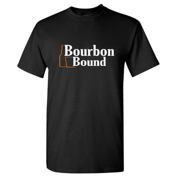 Bourbon Bound Logo on a Black T Shirt