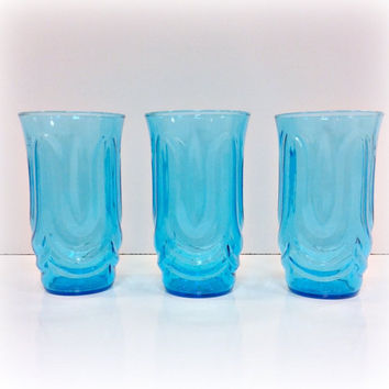 Vintage Anchor Hocking Blue Glassware by vintage19something