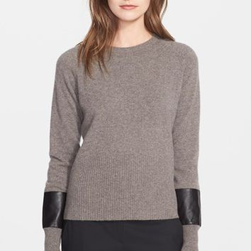 Women's Veda 'Ash' Cashmere Sweater with Leather Contrast,