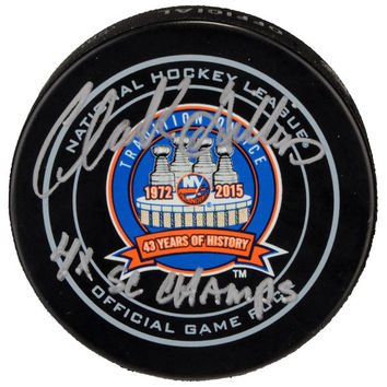 Autographed New York Islanders Clark Gillies Fanatics Authentic 43rd Anniversary Season Official Game Puck with 4x SC Champs Inscription