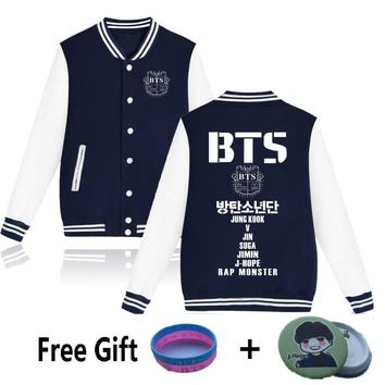 KPOP BTS Bangtan Boys Army WEJNXIN New  Young Forever Hoodies Women   Boys Baseball Uniform Pockets Jungkook Jimin V Suga Jacket Sweatshirt AT_89_10