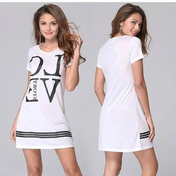White Monogram Pattern Round Neck Streetwear Cotton Mini Dress