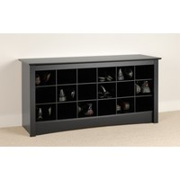 Black Shoe Storage Cubbie Bench BSS-4824